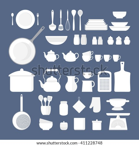 Vector set of kitchen utensils for cooking. Set of kitchen icons. Kitchen tools. Set of vector elements for the kitchen. Illustration in flat style. - stock vector