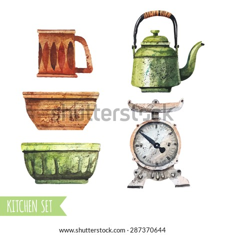 Vector set of kitchen utensils in a watercolor style. Bowls, cups, kitchen scales. - stock vector