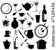 Vector set of kitchen ware - stock photo