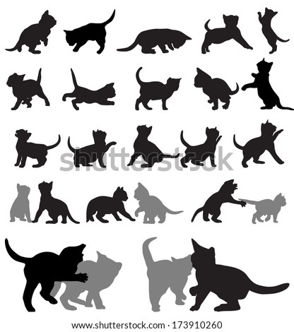 Vector set of kitten silhouettes.  - stock vector