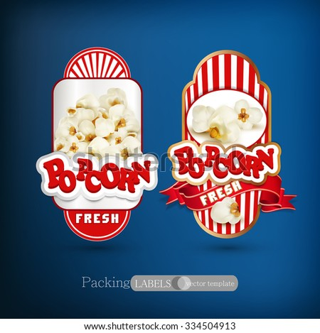 Vector set of label for popcorn