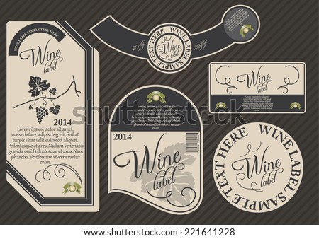 Vector set of label templates for wine products