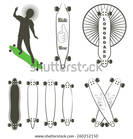 Vector set of labels and logos with longboards. Silhouette of man ride on longboard. Different shapes of decks - stock vector