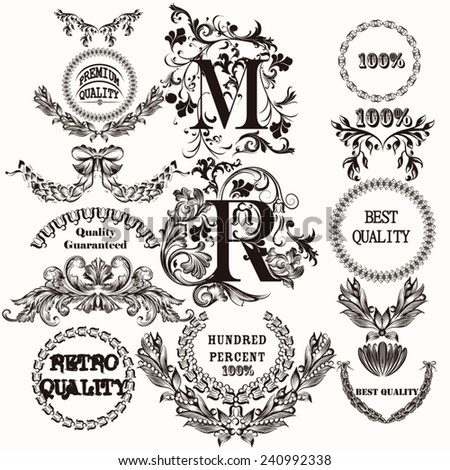 Vector set of labels for design. Calligraphic vector - stock vector