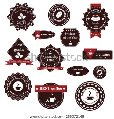 vector set of labels on the theme of coffee