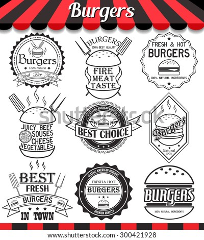 """Vector set of labels, stickers,logos and logotypes elements for burger and hamburger.See more in set """"Labels"""" of my portfolio - stock vector"""