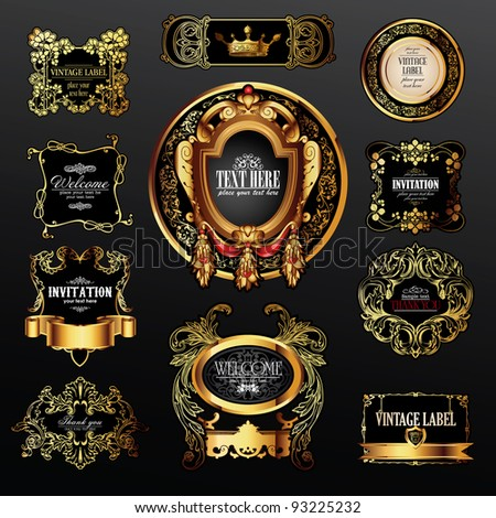 vector set of labels with gold elements for design - stock vector