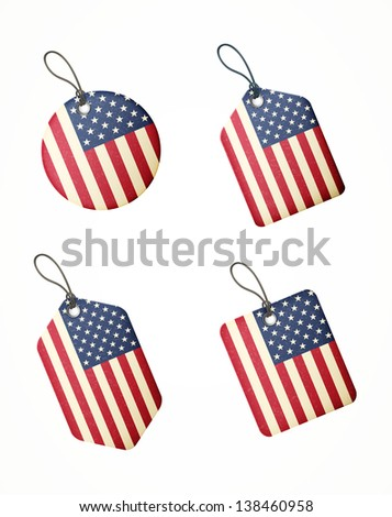 vector set of labels with united states of america flag for 4th of july - stock vector