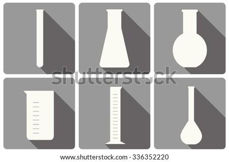 vector set of laboratory glassware flat icons: tubing, beaker, measurement glass - stock vector