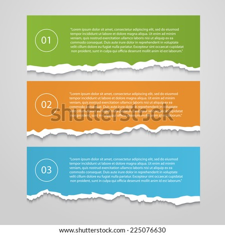 Vector Set  of lacerated color sheets with numbers,info-graphic,banner isolated on a white background - stock vector