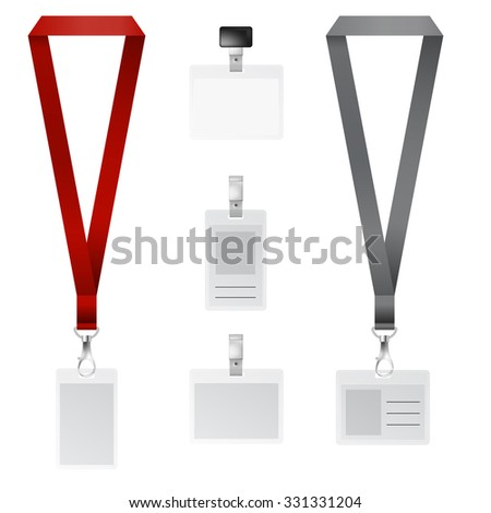 Vector set of lanyard, retractor end badge with black and red ribbons  - stock vector