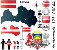 Vector set of Latvia country shape with flags, buttons and icons isolated on white background - stock photo