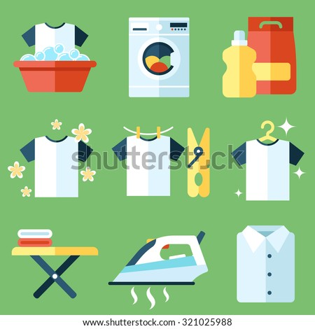 Vector set of laundry, clothes washing and ironing icons. Flat style. - stock vector