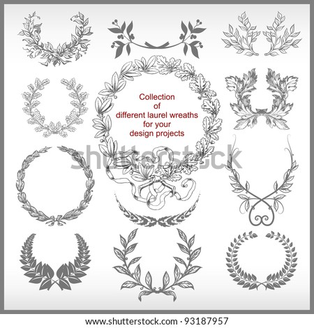 vector set of laurel wreaths isolated - stock vector