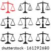 vector set of law scales icons - stock vector