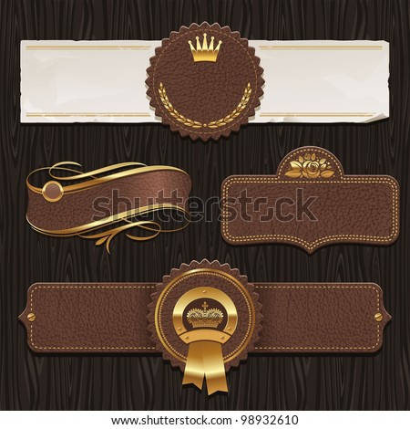 Vector set of leather & golden framed labels - stock vector