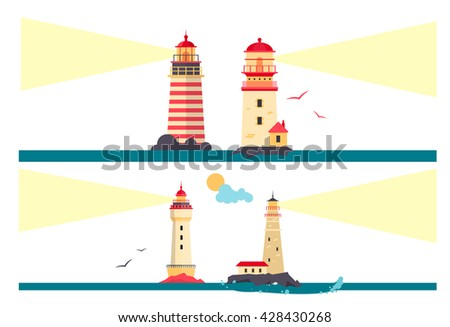 Vector set of lighthouses. Design elements and icons in flat style isolated on white background. Cartoon lighthouse with light beams. - stock vector