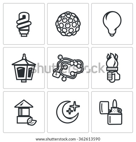 Vector Set of Lighting Icons. Power save lamp, Lumiere, Incandescent, Street light, Garland, Torch, Architectural, Moonlight, Lighter. Light Bulb, Equipment, Lantern, torch, Crescent, Cigar-lighter - stock vector