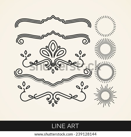 vector set of  line art elements for design, sunburst and ray lights shapes - stock vector