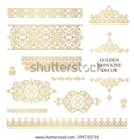 Vector set of line art frames, vignettes for design template. Element in Eastern style. Golden outline floral borders. Mono line decor for invitations, greeting cards, certificate, thank you message. - stock vector