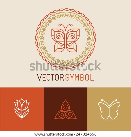 Vector set of line butterfly logos and icons - design elements for spa, cosmetics and organic shops - stock vector