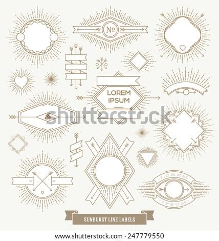 Vector set of line design emblem, sign and hipster labels with sunburst rays - stock vector