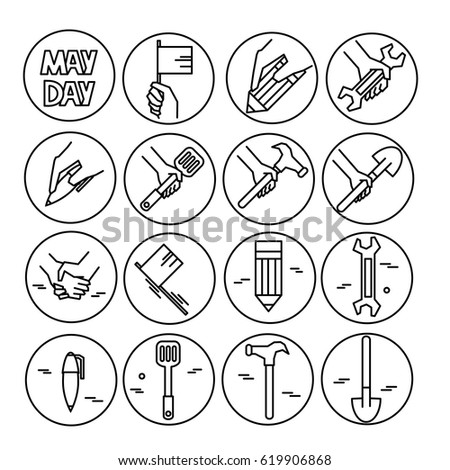 Vector set of line icons for May Day, International Labor Day. Black and white icons.