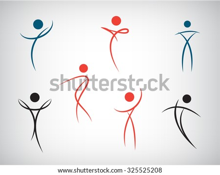 Vector set of line man, human shapes. Use for logos, icons, illustrations. Dance, fitness, health, beauty, sport.  - stock vector