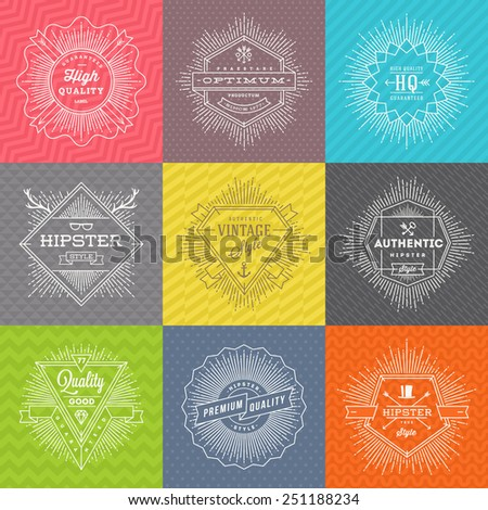 Vector set of line signs and emblems with hipster symbols and type design on a colored pattern background - stock vector