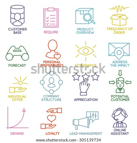 Vector Set of Linear Customer Relationship Management Icons - part 2 - vector icons - stock vector