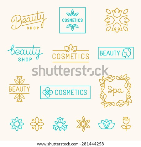 Vector set of linear design elements and logos for beauty shops and cosmetic industry - mono line lettering - stock vector