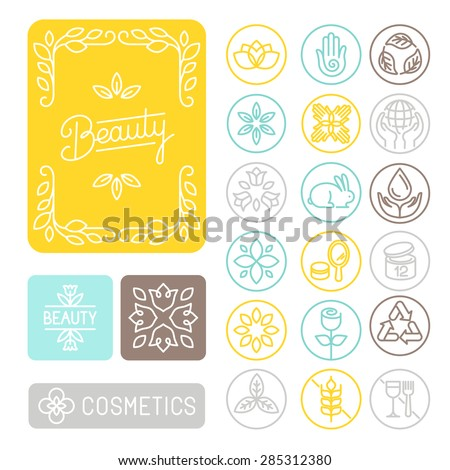 Vector set of linear design elements, emblems and icons for packaging design for beauty and cosmetic industry - floral frames; not tested on animals; gluten free and recycled - stock vector