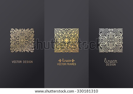 Vector set of linear design elements, logo design templates and mono line badges for packaging - abstract concepts for luxury products and services - emblems in golden foil style on  black background - stock vector