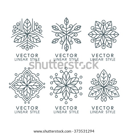 Vector set of linear design elements with leaves , logo design templates and mono line badges for packaging ,vector illustration - stock vector