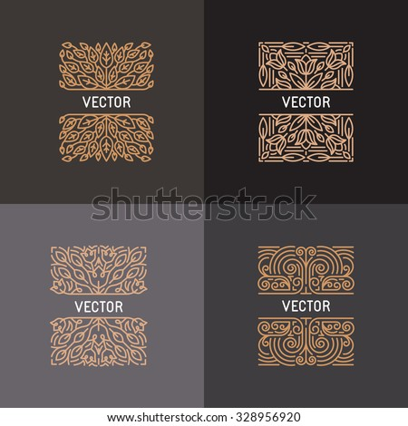 Vector set of linear frames and floral backgrounds with copy space for text - abstract labels for packaging and stationery in vintage hipster style  - stock vector