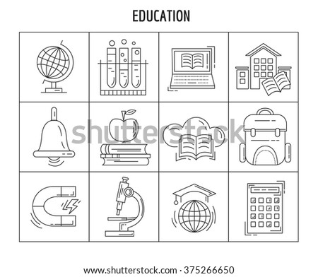 Vector set of linear icons  - stock vector