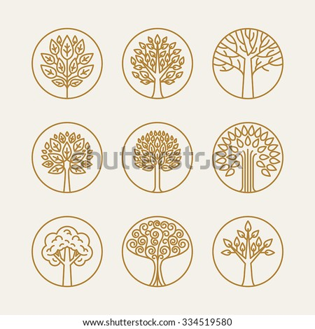Vector set of linear icons and logo design elements in trendy mono line style - growth concepts, business emblems and signs - tree and bush labels - stock vector