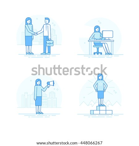 Vector set of linear icons, illustrations and infographic elements in linear style  - business concept - woman character working at the computer, achieving success, shaking hands with partner