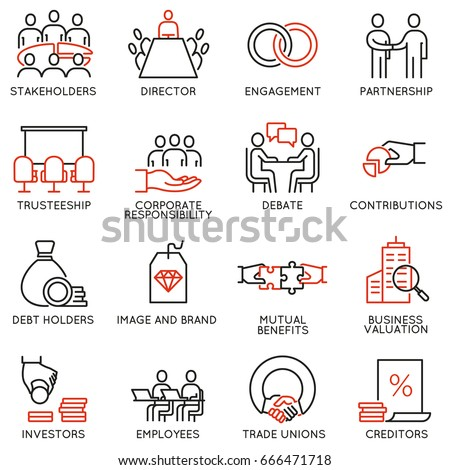 Vector set of linear icons related to business process, team work, human resource management and stakeholders. Mono line pictograms and infographics design elements