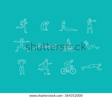 Vector set of linear sport icons and illustrations in trendy mono line style - people exercising - man and woman concepts - running, boxing, doing yoga, swimming