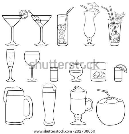 Vector Set of Lineart Cocktails and Alcohol Drinks - stock vector