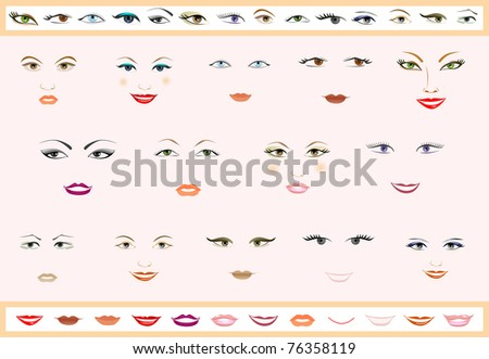 Vector set of lips and eyes. Women's faces. - stock vector