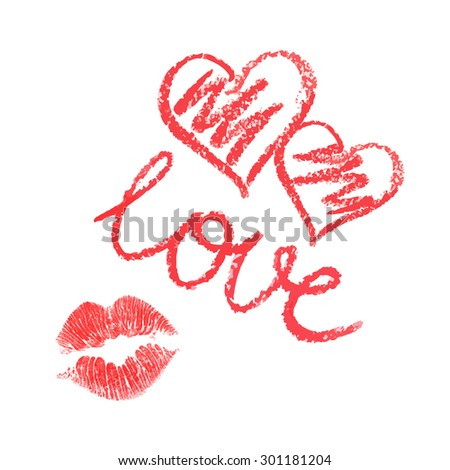Vector set of lipstick drawn hearts and kiss on white background - stock vector