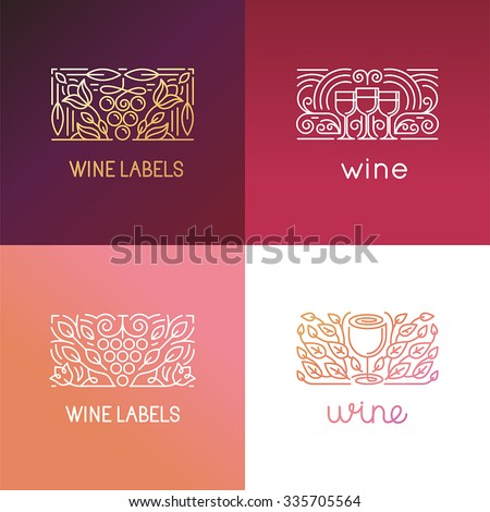 Vector set of logo design elements and signs for wine - packaging design and icons - badges for label in trendy linear style  - stock vector