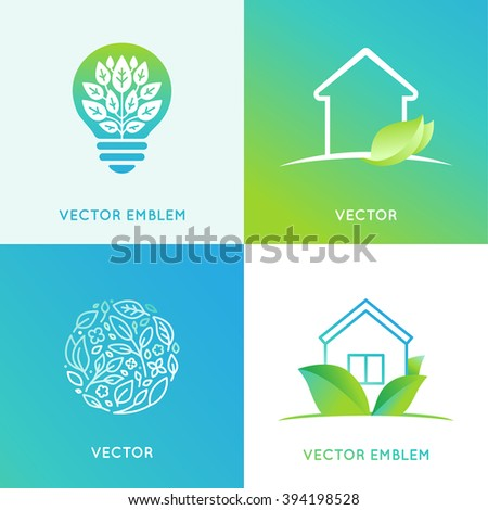 Vector set of logo design templates and emblems in bright green gradient colors - eco friendly home concepts - house icons with leaves  - stock vector