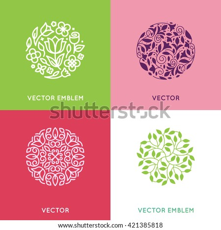 Vector set of logo design templates and emblems made with leaves and flowers - luxury beauty spa concepts - natural badges for cosmetics
