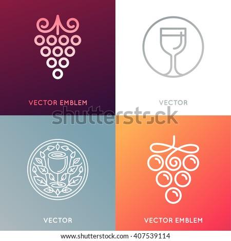 Vector set of logo design templates and emblems - wine labels design elements and wine restaurants and bars - grape symbols - stock vector