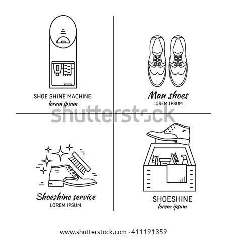 vector set logo design templates shoeshine stock vector royalty