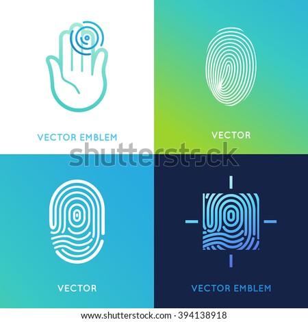 Vector set of logo design templates in bright gradient colors - fingerprint icons - stock vector