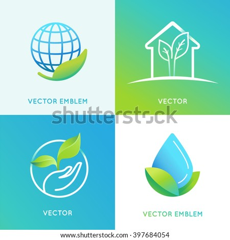 Vector set of logo design templates in bright gradient colors - save the planet concepts - eco energy icons and badges - stock vector